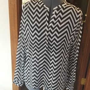 Sheer Blouse Black and White Pattern